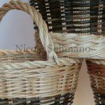 cesto tondo in salice decorticato e naturale